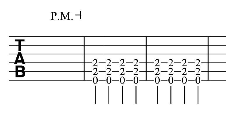 パームミュートの譜面
